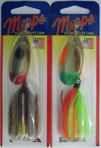2 Hot Orange Chartreuse//Brown /& Silver//White 1//2 oz. Mepps  Aglia Spinner