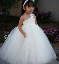 hübsches Mädchen Tütü Kleid Tüll  Blumen Perlen Stirnband Gr. 110 weiß rosa