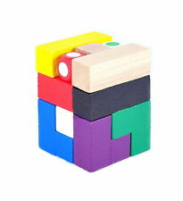 Wooden Intelligence Game 3D Wood IQ Puzzle Brain Teaser Tetris Cube 9 pc + Dice
