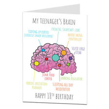 """Funny 18th Birthday Card For Girls & Boys """"Teenagers Brain"""" Design Son Daughter"""