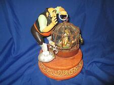 Disney Store Pinocchio In Cage Stromboli & Jiminy Cricket Snowglobe With Music