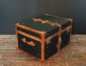 Handmade English Black Millerain & Leather Coffee Table Trunk