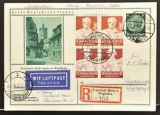 GERMANY 1935 Nothilfe Profession Pairs on Darmstadt Pic PSC Card by Reg Airmail