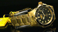 Invicta Pro Diver 18K Gold Plated 37.5MM Black Dial Gold Tone S.S Bracelet Watch