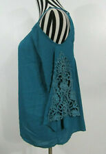 Umgee Blue Cold Shoulder Open Back Crochet Sleeve Top Size M