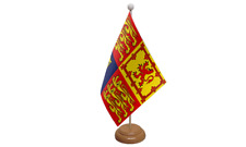 UK Royal Standard Table Flag with Wooden Stand
