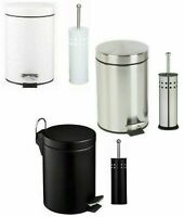 5 LITRE ROUND STAINLESS STEEL PEDAL BIN TOILET BRUSH & HOLDER BATHROOM CLEANING