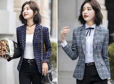 Women Jacket Blazer Casual Notched Collar Suit Coat Classic Plaid Single Button