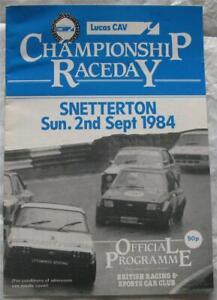 SNETTERTON 2 Sep 1984 Championship Raceday Lucas CAV Official Programme