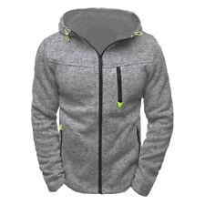 Men Hoodies Jacket Sweater Casual Side Zip up Hooded Sweatshirt Coat Dark Gray M