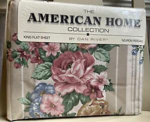 VTG Dan River American Home Collection King Flat Sheet Palermo Floral Roses NEW