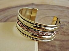 "Solid Brass 2 Tone Wide Bangle Cuff - Copper Brass  Braided 1"" Cuffed Bracelet"