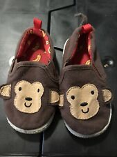 Toddler Boys Loafers Size 6 Monkey Brown Slip On Canvas Shoes Tail on Heel