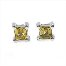 Sweet 0,25 Carat Citrine, Sunstone Studs, Earring, 925 Silver, Rhodium-Plated