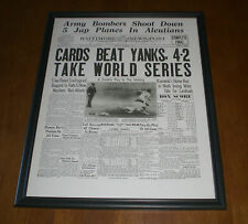 1942 CARDINALS BEAT YANKEES WORLD SERIES FRAMED 11x14 NEWSPAPER PRINT