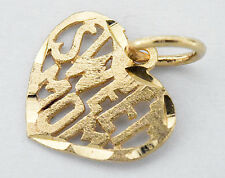 "Woman's 14k Solid Yellow Gold ""Sweet Mom"" Charm Pendant"
