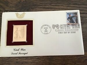 FIRST DAY COVER FDC 1995 CIVIL WAR ISSUE GOLD STAMPDavid Farragut 32 CENT