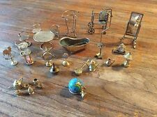 Vtg  Doll House Furniture Mid Century BRASS Mirror globe weather vane lamp clock