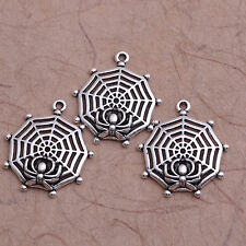 10Pcs Tibetan Silver Spider Web Charm Necklace Pendant Jewelry Findings #52