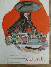 1956 Charles of the Ritz face powder cosmetic big hat vintage art ad