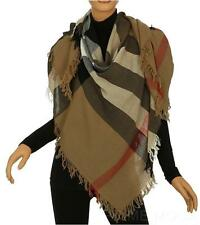 NEW BURBERRY LADIES LUXURY COLOR CHECK WOOL SCARF WRAP SHAWL 110 X 110 CM