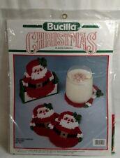 BUCILLA PLASTIC CANVAS KIT Santa Coasters And Holder Christmas Kit New 61118