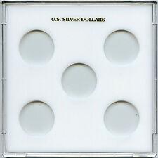 "Capital Plastic Galaxy 6.5""x 6.5"" - 5-Coin Holder U.S. Silver Dollars - White"