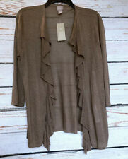 Size 1 Medium NWT CHICOS Womans Coffee Brown Open Front Light Cardigan Top Flaw