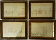 ANTIQUE 1885 AMERICAN OUTSIDER FOLK ART DRAWINGS FAMILY FRIENDS VICTORIAN LOVE