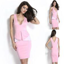 Sz L 12 14 Pink White V-neck Peplum Ruffle Sleeveless Dance Party Cocktail Dress
