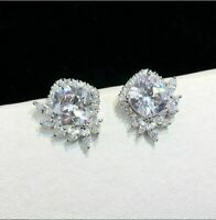 4Ct Cushion Cut VVS1/D Diamond Halo Stud Earrings Solid 14K White Gold Finish