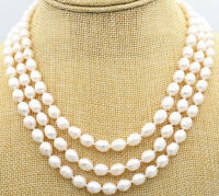 """3row 8-9mm akoya Genuine natural white rice FW pearls necklace 17-19"""""""