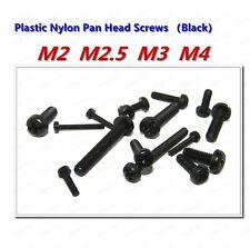 M2 M2.5 M3 M4 Black  Plastic Nylon Phillips Cross Round Pan Head Screws