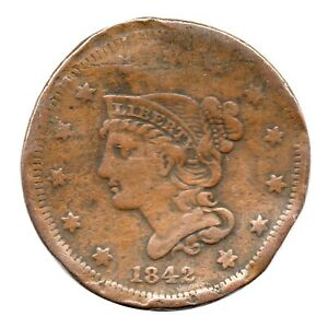 KM# 67 - One Cent - Liberty Head/Braided Hair Large Cent - USA 1842 'Damaged'