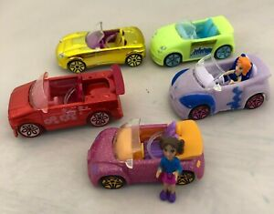Polly Pocket Wheels Race to the Mall Lot Of 5 Mini Cars & 2 Dolls 2007 Vintage