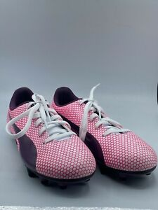 Puma Spirit FG Junior Pink Synthetic Leather Soccer Low Top Cleats US 4