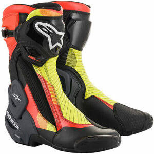 Alpinestars SMX Plus V2 Motorbike Motorcycle Boots Black / Red / Fluo Yellow