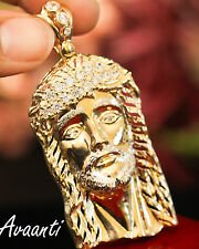 Real 10k Gold Two Tone Large Jesus Face Head Pendant Charm Piece Cubic Zirconias