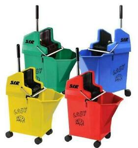 """SYR Ladybug 15 Litre Kentucky Mop Bucket and Wringer with 2"""" Castors"""