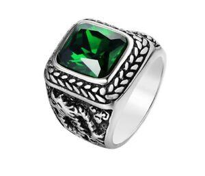 Men Green Cubic Zircon Stone Dragon Silver Titanium Stainless Steel Ring 8-12