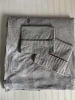 IKEA NYPONROS Duvet Cover Shams SET Gray White Ticking Stripe 3PC Full/ Queen