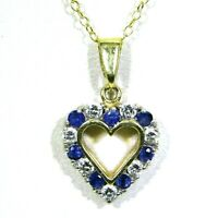 "Quality Sapphire & 0.35ct Diamond Love Heart 9ct Yellow Gold Pendant + 18"" Chain"
