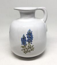 Frankoma Pottery #833 Medium Jug White Texas Bluebonnet Lupine 6""