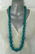 ❤ Turquoise Blue Chunky Bead Long Statement Necklace Costume Jewellery