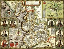 LANCASHIRE 1610 by John Speed - reproduction old map