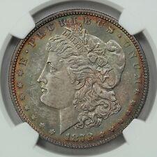 1878 Morgan Dollar, 7 TF Tailfeather, Reverse 1878, NGC MS62, Rainbow Toner!