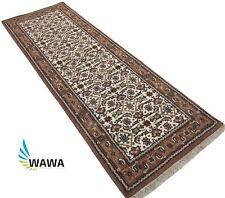 Teppich Orient Läufer Herati Braun Cream 80x250 cm 100% Wolle Handgeknüpft