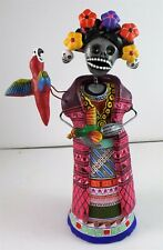 Day of the Dead FRIDA KAHLO CATRINA clay pottery Mexico signed Saul Montesinos B