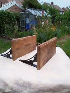 Cast Iron And Oak Shelves X 2