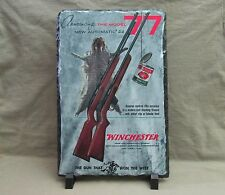 Vintage Winchester Model 77 Rifles on Slate Stone Plaque with Stand - Great Gift
